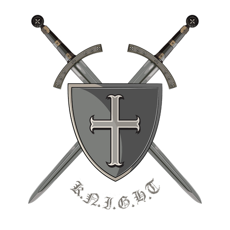 Knight sword. Two crossed knight of the sword and medieval heraldic shield, isolated on white, vector illustration. Illustration