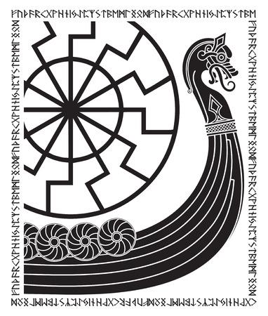 Warship of the Vikings. Drakkar, ancient scandinavian pattern and norse runes