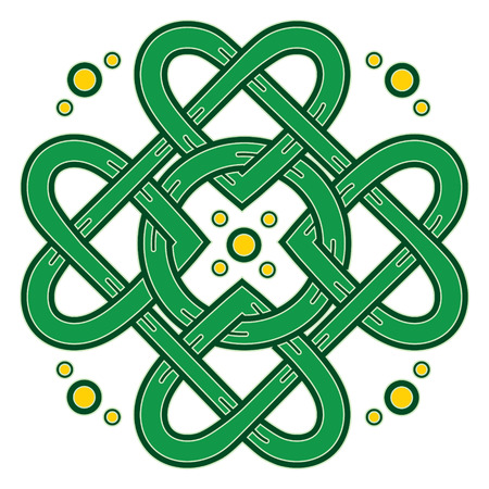 Four-leaf clover. Irish symbol in the Celtic style for the feast of St. Patrick