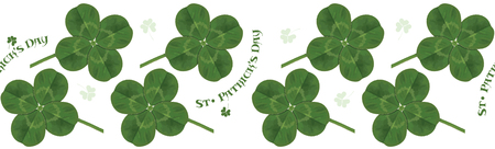 Four-leaf clover. Irish symbol for the feast of St. Patrick. Horizontal seamless pattern