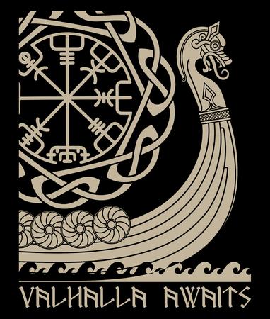 Buque de guerra de los vikingos. Drakkar, antiguo patrón escandinavo y runas nórdicas