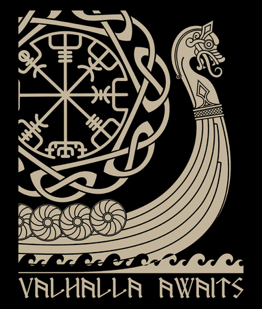 Warship of the Vikings. Drakkar, ancient scandinavian pattern and norse runes