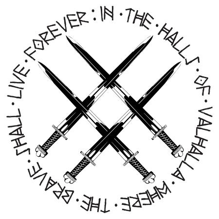 Vikings sword in silhouette black and white illustration. Vettoriali