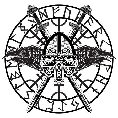 Viking helmet, crossed viking sword in a circle of Scandinavian runes and two raven