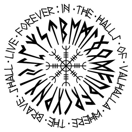 Helm der Ehrfurcht, Helm des Terrors, isländische magische Dauben mit skandinavischen Runen, Aegishjalmur