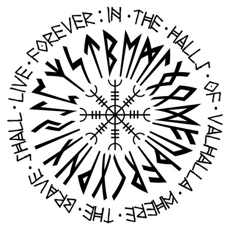 Helm of awe, helm of terror, Icelandic magical staves with scandinavian runes, Aegishjalmur Stock fotó - 97734370