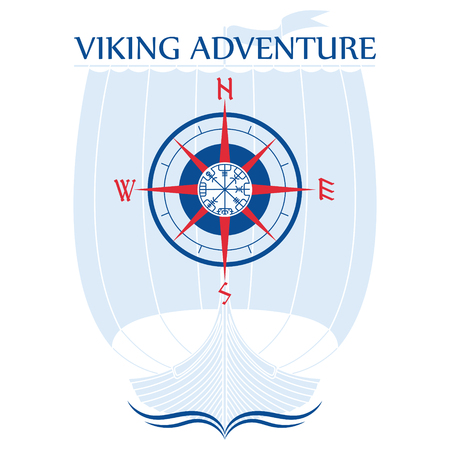 Illustration of a light blue ship symbol with a campus and viking adventure lettering