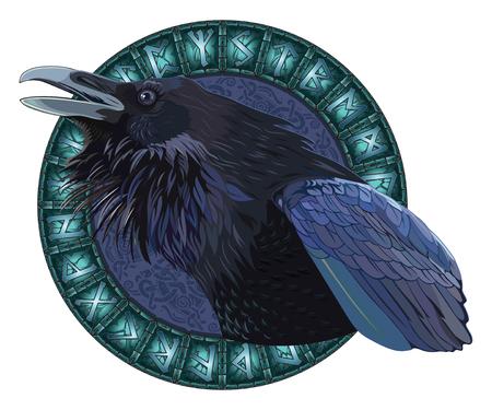 Krächzende schwarze Krähen, in einem Kreis von glänzenden skandinavischen Runen, geschnitzt in Steinvektorillustration.