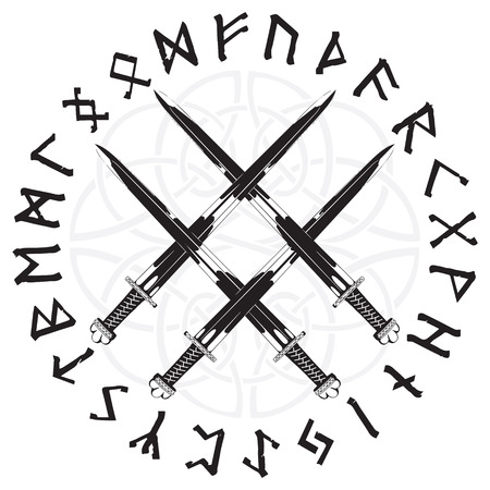Four crossed the Vikings sword in a circle of Norse runes.