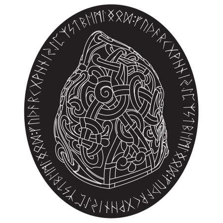 Oude runestone met gegraveerd Scandinavisch patroon