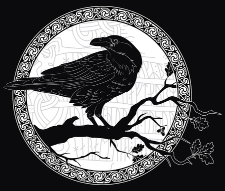 Black crow sitting on a branch of an oak tree, and Scandinavian runes, carved into stone.