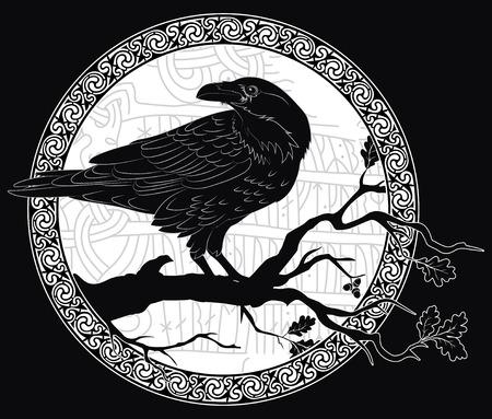 Schwarze Krähe sitzt auf einem Ast einer Eiche und skandinavische Runen, in Stein gemeißelt.