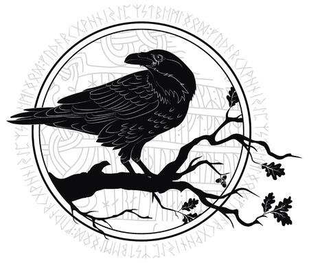 Black crow sitting on a branch of an oak tree vector illustration isolated on plain background