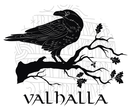 Black crow sitting on a branch of an oak tree, and Scandinavian runes, carved into stone, isolated on white, vector illustration Illustration