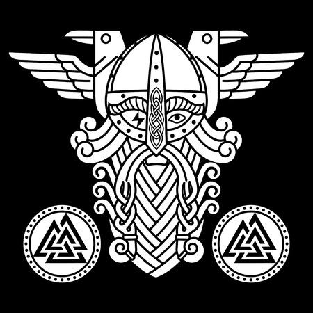 God Wotan and two ravens and runes shields. Illustration of Norse mythology, isolated on black, vector illustration Stock Illustratie