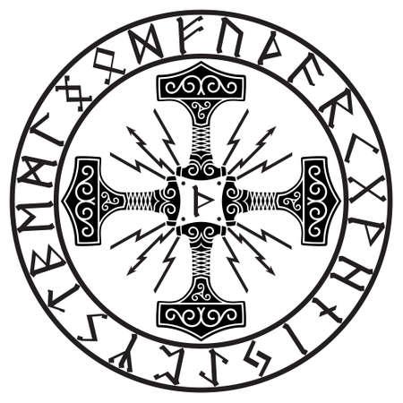 Thors hammer - Mjolnir and Norse runes, isolated on white, vector illustration Stock Illustratie