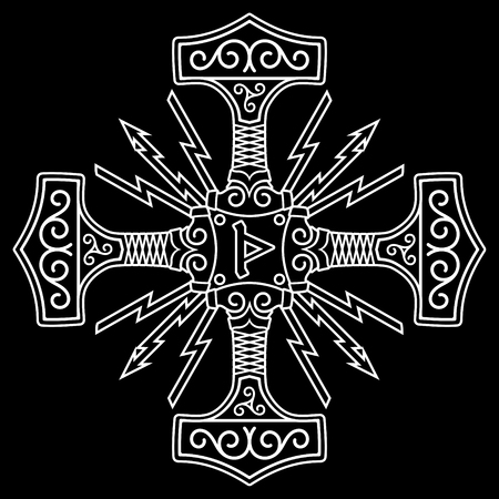 Thors hammer - Mjolnir and Norse runes, isolated on black, vector illustration