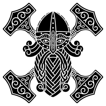 Starożytny skandynawski bóg Thor i młot Mjolnir, na białym tle na ilustracji wektorowych biały