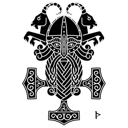 The ancient Scandinavian God Thor and the Hammer Mjolnir, isolated on white, vector illustration