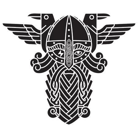 God Wotan, and two ravens. Illustration of Norse mythology 일러스트