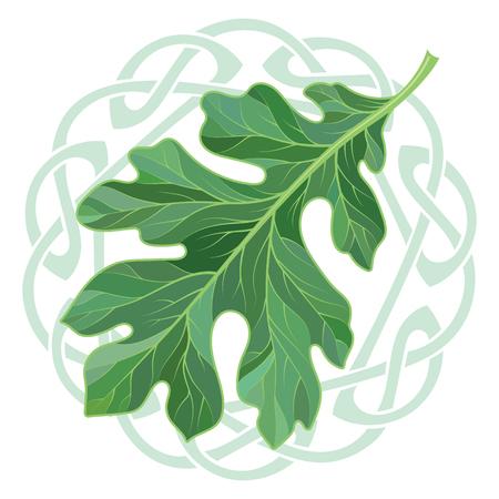 Oak leaf in summer coloring and Celtic magic ornament