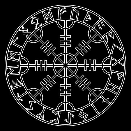 God Wotan, and two ravens. Illustration of Norse mythology Illustration