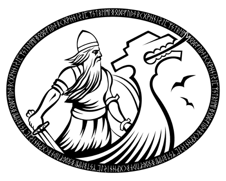 Old Norse warrior. Viking with sword and Drakkar in runic circle, isolated on white, vector illustration