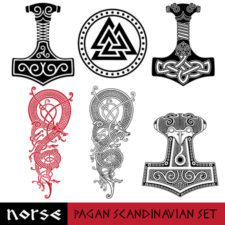 Scandinavian pagan set - Thors hammer - Mjollnir, Odin sign - Valknut and world dragon Jormundgand. Illustration of Norse mythology, isolated on white, vector illustration Stock Illustratie