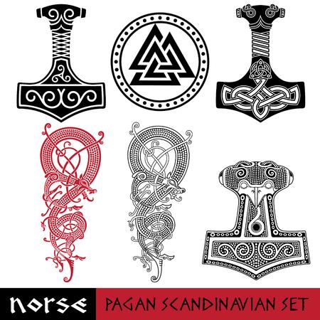 Scandinavian pagan set - Thors hammer - Mjollnir, Odin sign - Valknut and world dragon Jormundgand. Illustration of Norse mythology, isolated on white, vector illustration Illustration