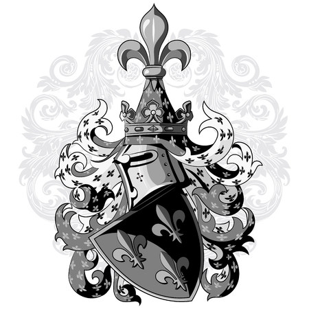 Knightly coat of arms. Heraldic medieval knight helmet, shield and Medieval knight ornament, isolated on white, vector illustration Illustration