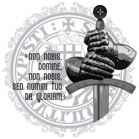Knight design. Armour gloves of the knight, shield and the sword of the Crusader, isolated on white, vector illustration