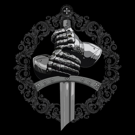 Knight design. Armour gloves of the knight, shield and the sword of the Crusader, isolated on black, vector illustration Illustration
