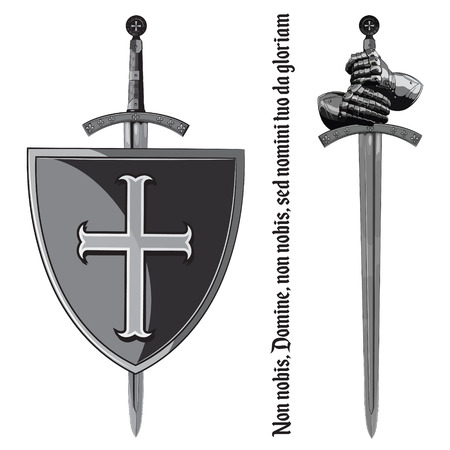 Armour gloves of the knight, shield and the sword of the Crusader, isolated on white, vector illustration Illustration