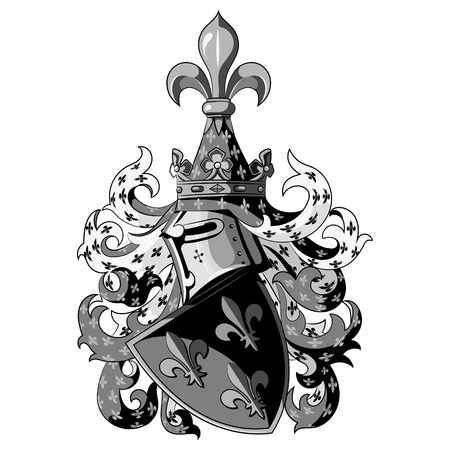Knightly coat of arms. Heraldic medieval knight helmet and shield, isolated on white background.