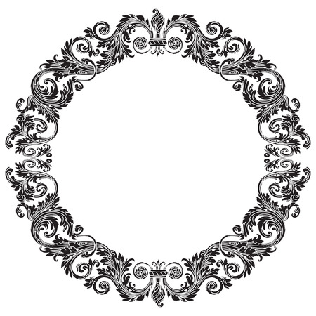 Vintage baroque ornament, retro pattern antique style, isolated on white background. Illustration