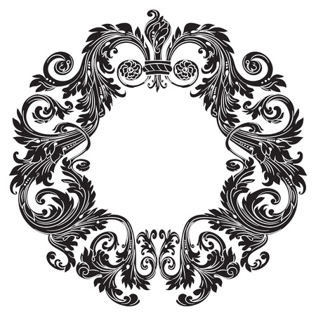 Vintage baroque ornament, retro pattern antique style, isolated on white, vector illustration