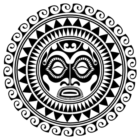Polynesian tattoo design mask. Frightening masks in the Polynesian native ornament, isolated on white, vector illustration 向量圖像