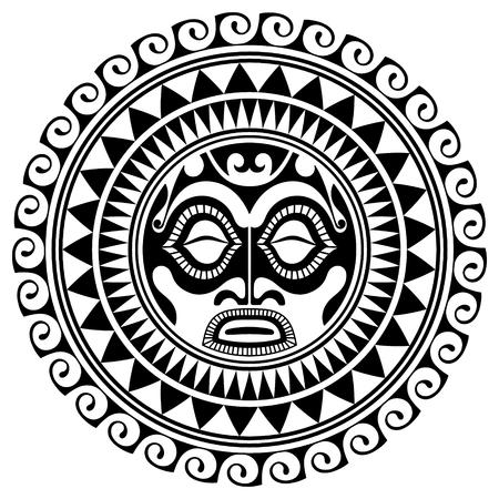 Polynesische Tätowierungsdesignmaske. Erschreckende Masken in der polynesischen einheimischen Verzierung, lokalisiert auf weißer Vektorillustration