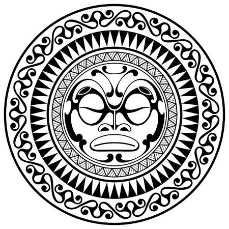 Polynesian tattoo design mask. Frightening masks in the Polynesian native ornament, isolated on white, vector illustration Illustration
