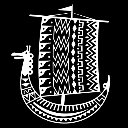An ancient Scandinavian image of a Viking ship decorated with an ancient pattern with a dragon head