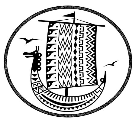 An ancient Scandinavian image of a Viking ship decorated with an ancient pattern with a dragon head, Old Norse runes and the inscription Thule - the legendary island