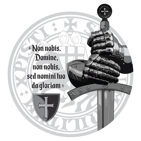 Medieval design. Crusaders knights gloves, sword, Templars seal and the prayer of the Crusader Vectores