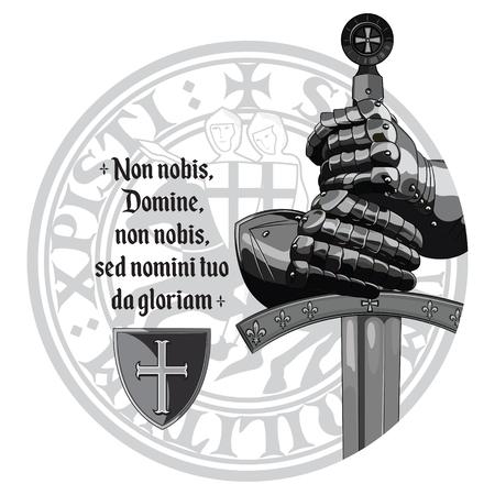 Medieval design. Crusaders knights gloves, sword, Templars seal and the prayer of the Crusader 向量圖像