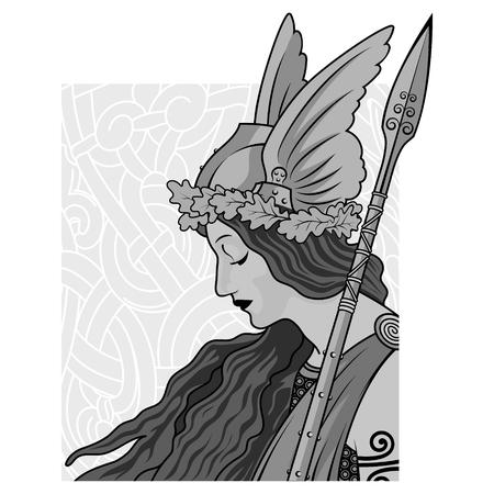 Walküre, Illustration zur skandinavischen Mythologie, gezeichnet im Jugendstil, isoliert auf weiß, Vektorillustration