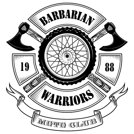 Emblem of the motorcycle club, motorcycle wheel and the crossed axes of the Vikings, isolated on white, vector illustration