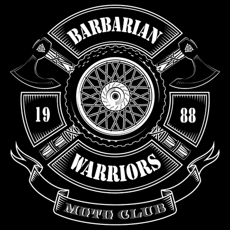 Emblem of the motorcycle club, motorcycle wheel and the crossed axes of the Vikings, isolated on black, vector illustration Ilustrace