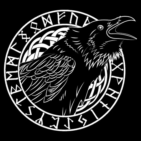 Cawing black crows, in a circle of Scandinavian runes, carved into stone, isolated on black, vector illustration Stock Illustratie
