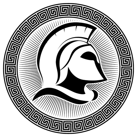Ancient Spartan helmet and greek ornament meander