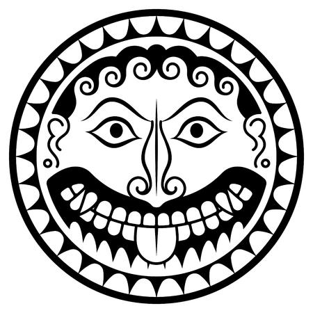 Escudo de la antigua Grecia con cabeza de Gorgona Medusa