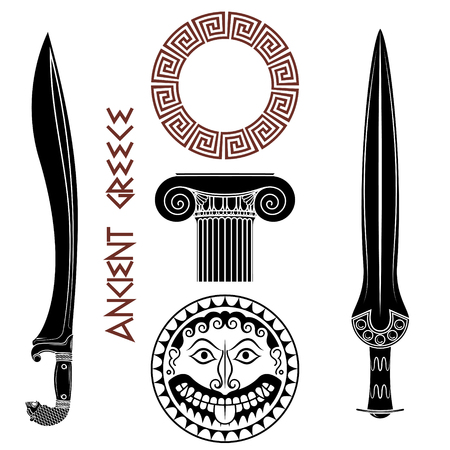 Ancient Greece set. Shield with Gorgon Medusa head, ancient Greek swords, Greek column, and Greek ornament meander